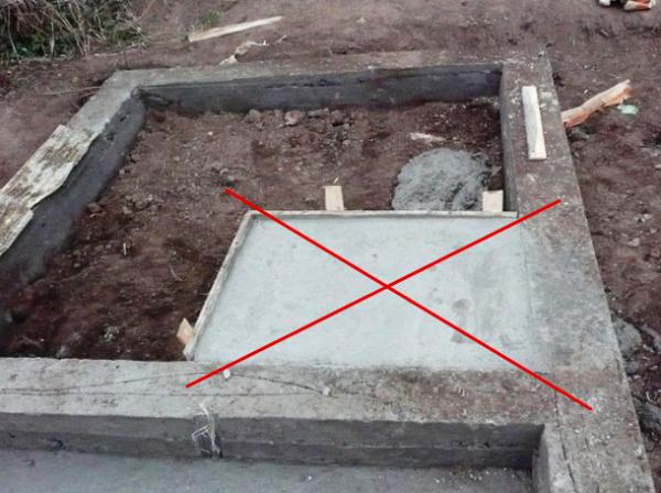 Неправильно изготовленный фундамент для бани