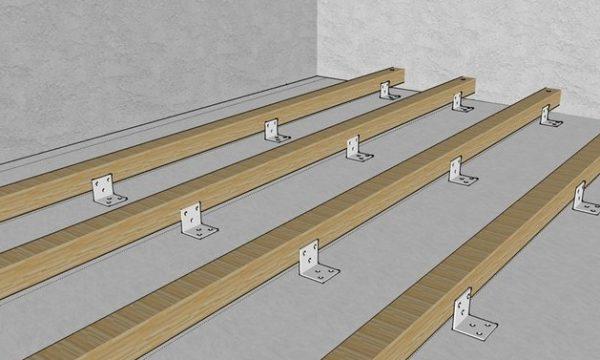 Способ крепления лаг к бетонному основанию
