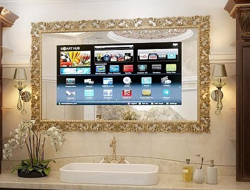 телевизор зеркало в ванной