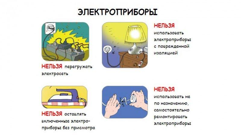 правила использования электроприборов